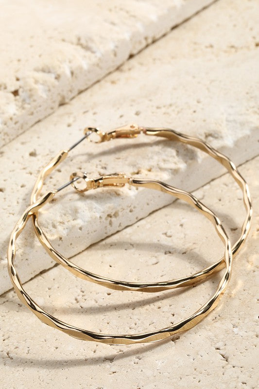 Textured Metal Hoops- Gold