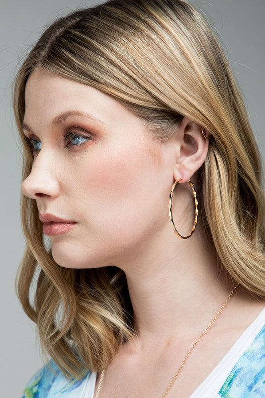 Textured Metal Hoops- Rose Gold