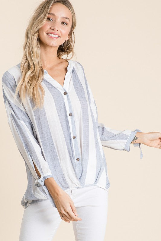 Loni - Vertical Stripe Blouse