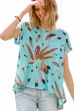 Feather Print Cuffed Sleeve Mint Top