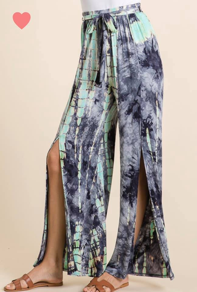 Blue Tie Dye Side Slit Comfy Pants