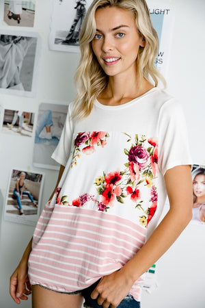 Juliana - Floral Color Block Top
