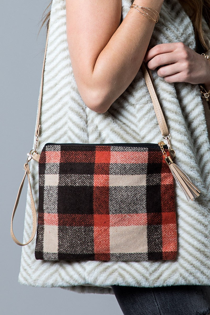 Beige Plaid Clutch Bag