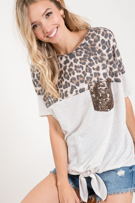 Leopard Print Color Block Sequin Pocket Top