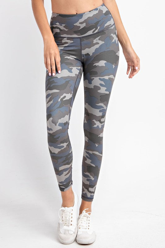 Blue/ Grey Camo Buttery Soft Leggings