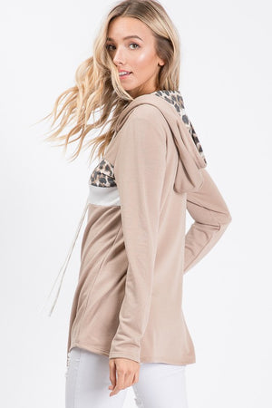 Mocha Animal Print Hooded Sweatshirt