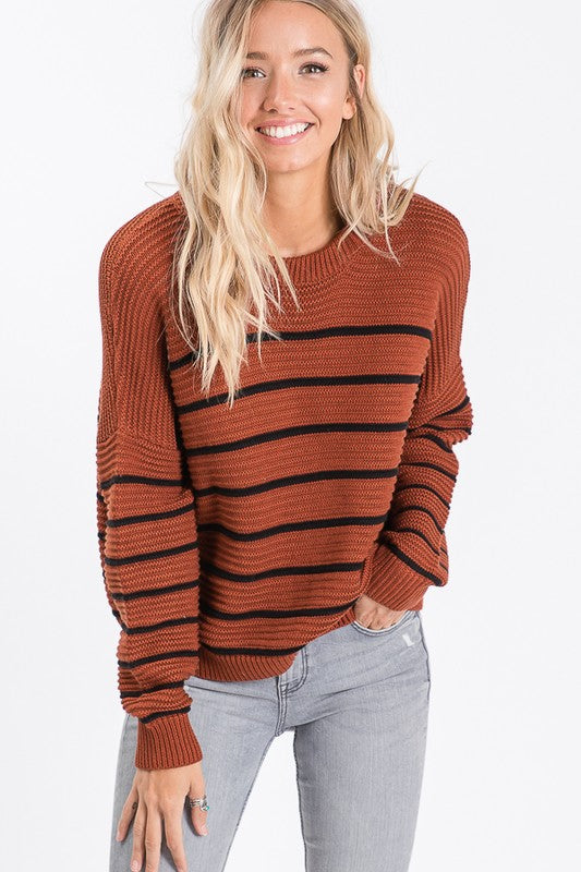 Rust/ Black Stripe Cozy Sweater