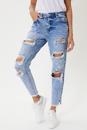 KanCan High Rise Distressed Mom Jeans