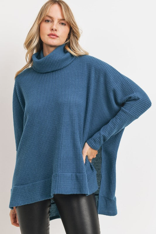 Thermal Knit Cowl Neck Sweater