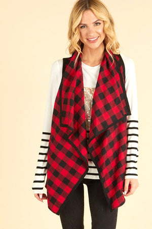 Buffalo Plaid Waterfall Vest