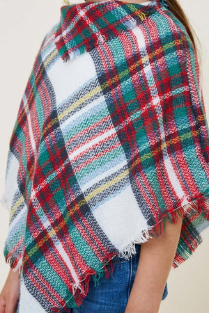 Plaid Sweater Poncho