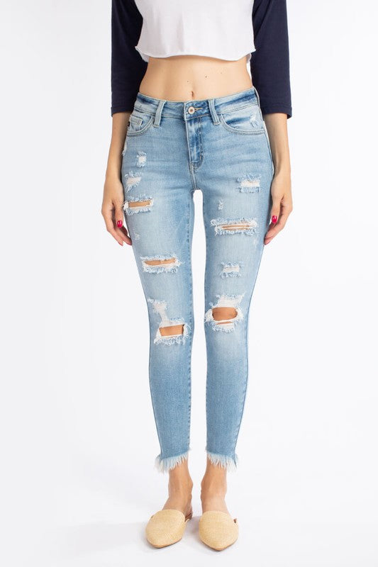 KanCan Light Wash Distressed Denim