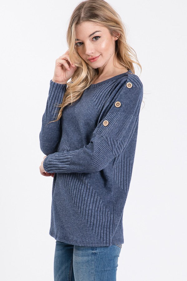 Blue Textured Long Sleeve Top