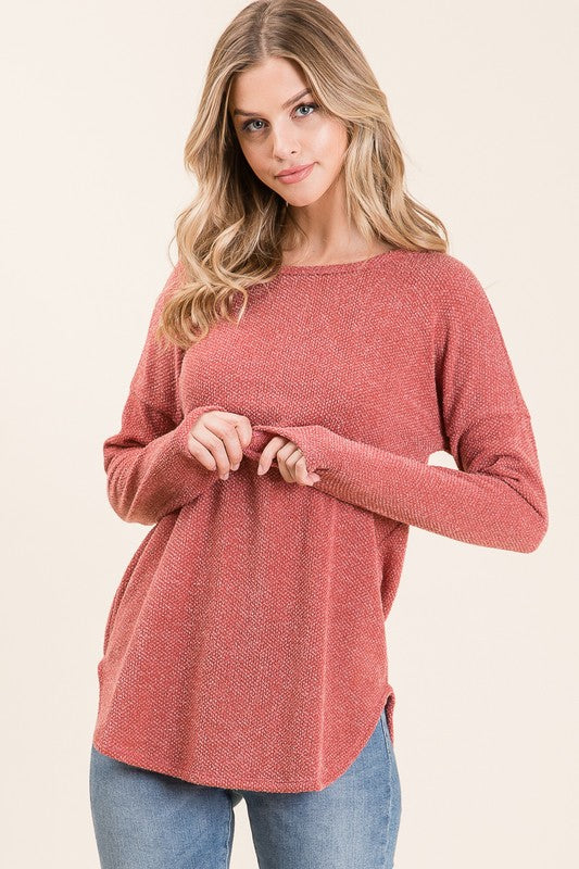 Marsala Long Sleeve Knit Top