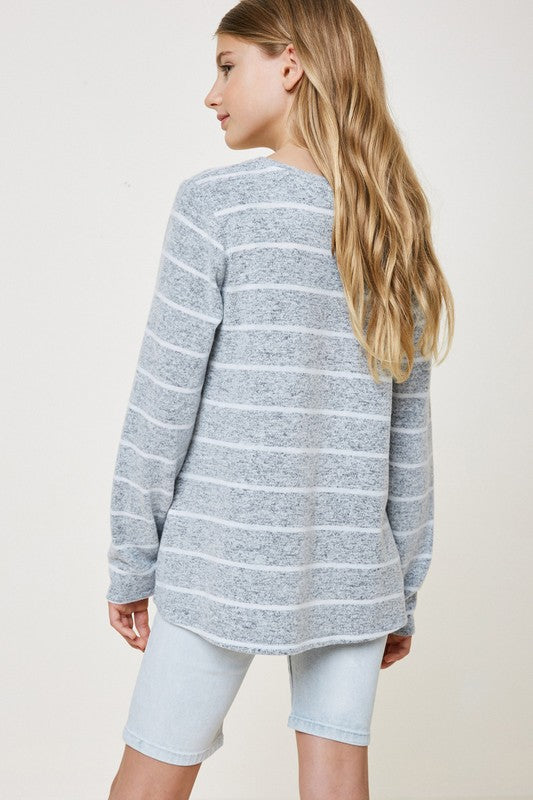 Grey Stripe Sweater- Girls
