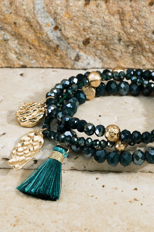 Layered Beaded Tassel Bracelet- Hunter Green