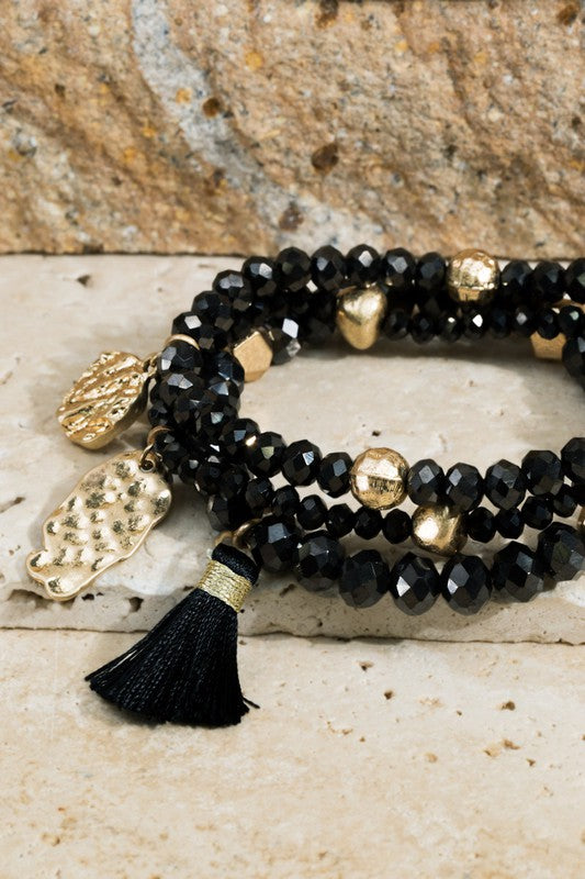 Layered Beaded Tassel Bracelet- Black