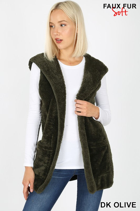 Faux Fur Vest- TWO colors