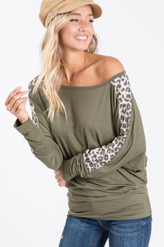 Olive Dolman Sleeves with Leopard Stripe Top