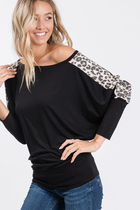 Black Dolman Sleeves with Leopard Stripe Top