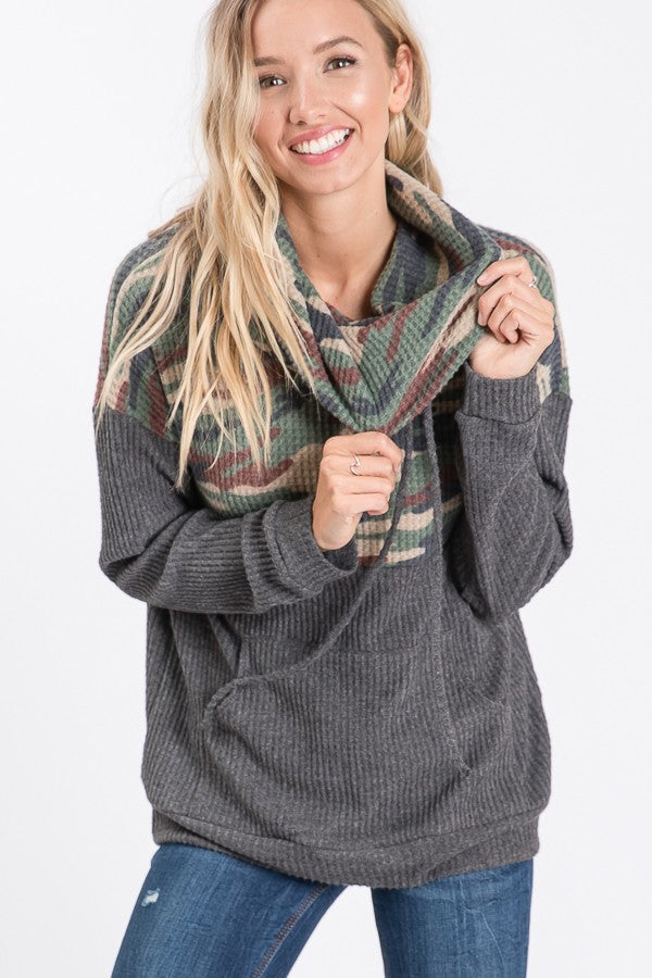 Camo Cowl Neck Top