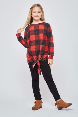 Girls Buffalo Plaid Top