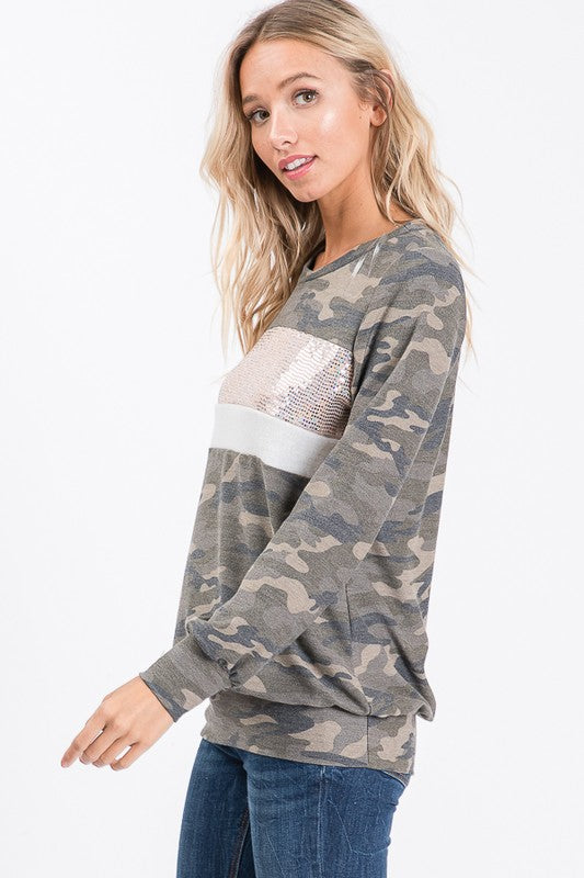 Camo Sequin Color Block Top