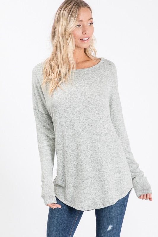 Super Soft Heathered Olive Long Sleeve Top
