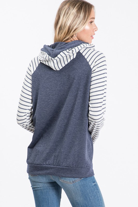 Navy Stripe Hooded Sweatshirt