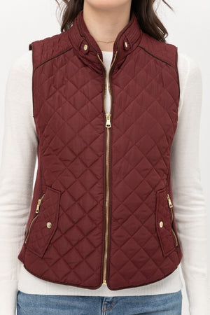 Wine Quilted Plush Vest