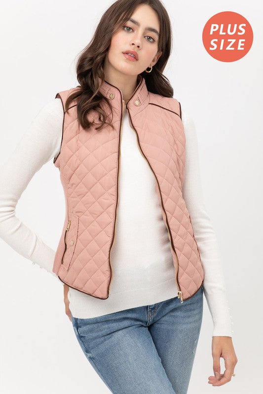 Mauve Quilted Plush Vest