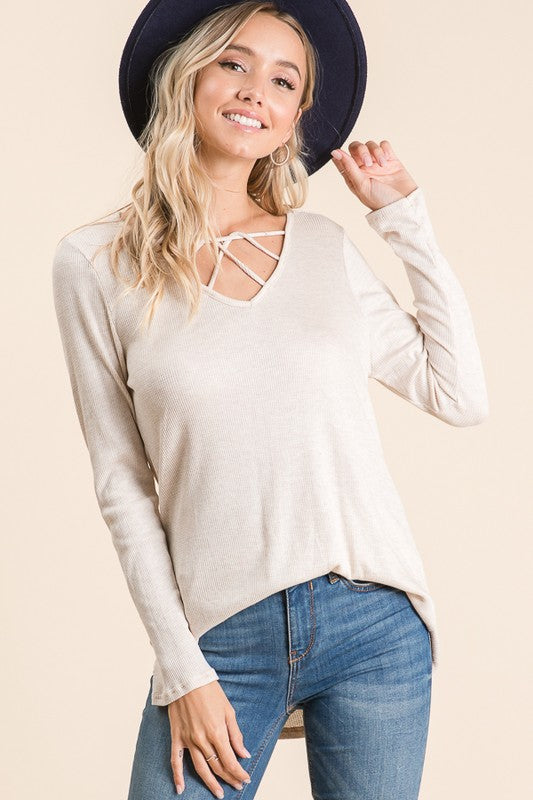 Oatmeal Criss Cross Twist Top