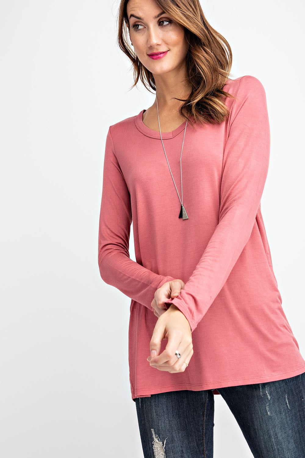 Marsala Long Sleeve V-Neck Top