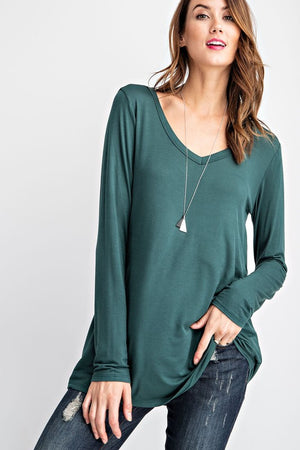 Bistro Green Long Sleeve V-Neck Top