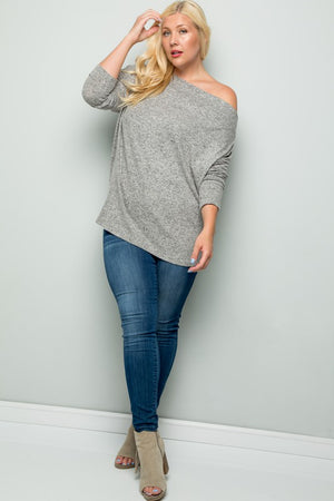 Oatmeal Dolman Off The Shoulder Top