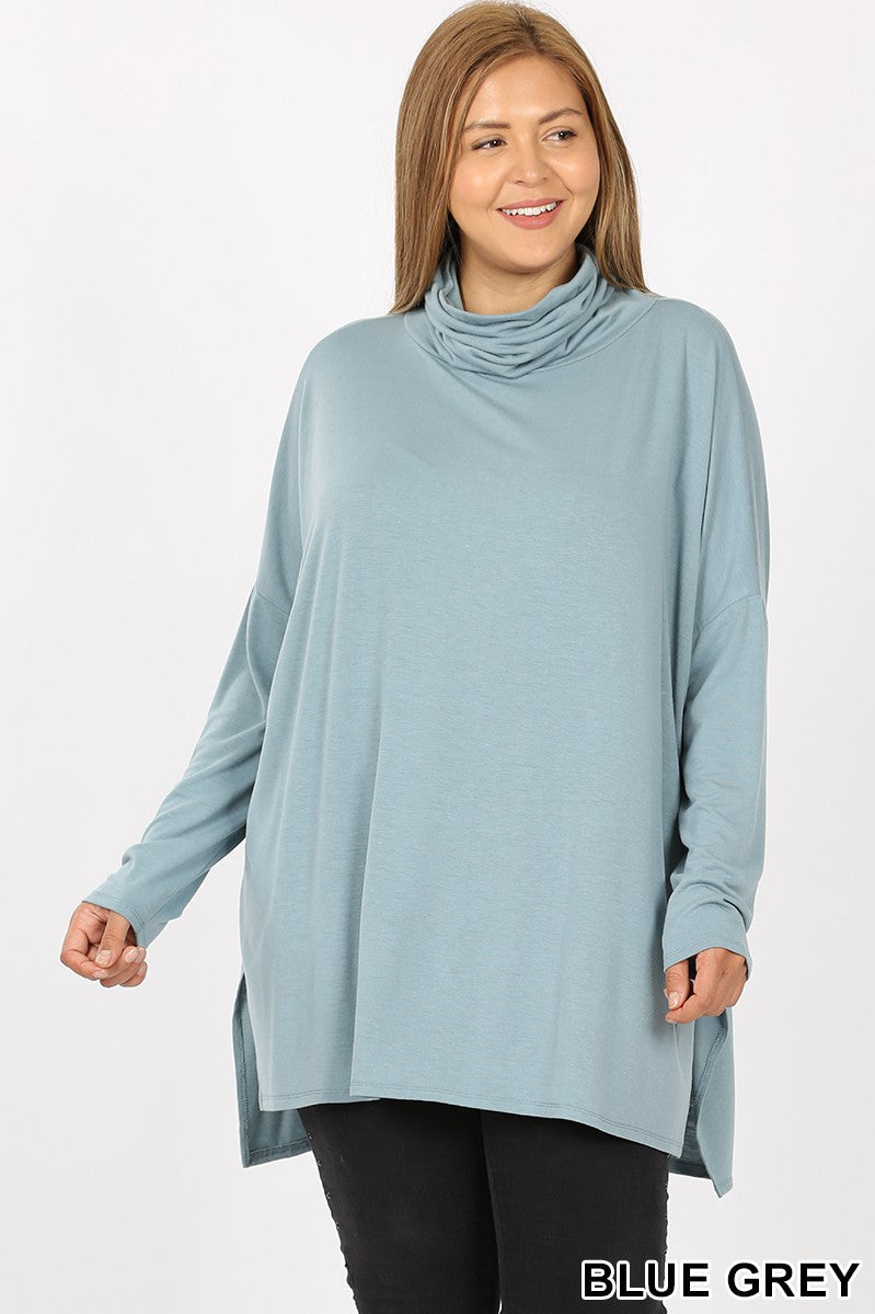 Blue/Grey Cowl Neck Top