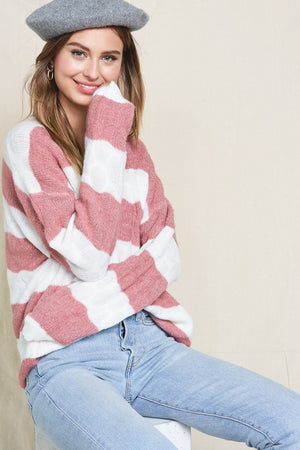 Mauve/Ivory Stripe Sweater
