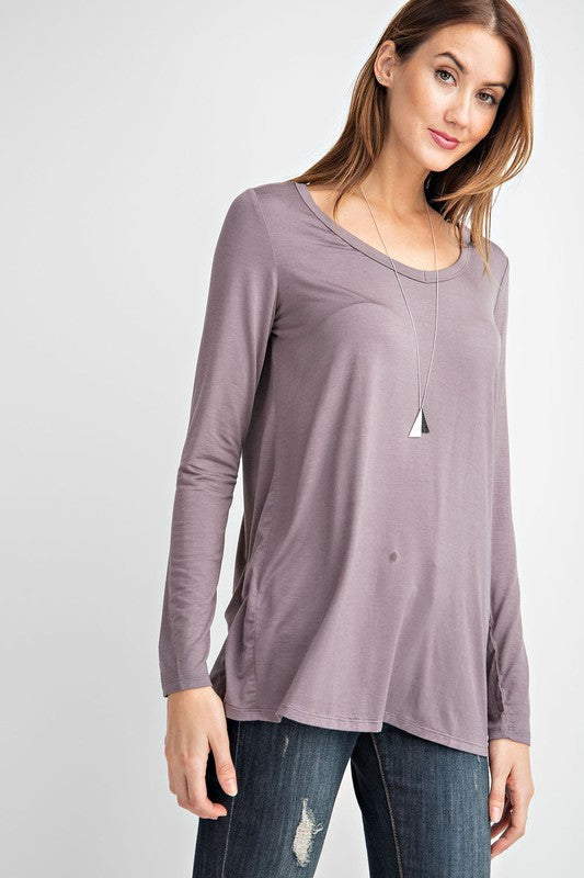 Smoky Grey Long Sleeve V-Neck Top
