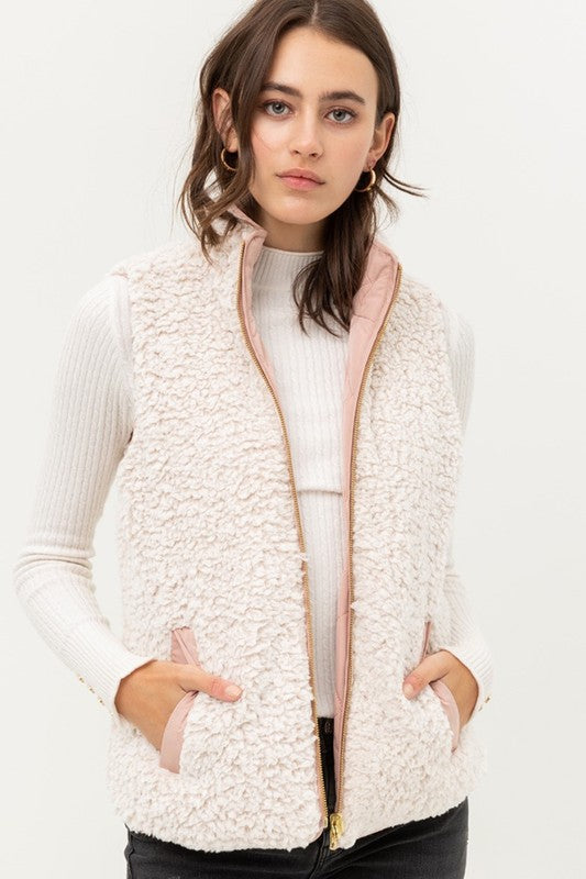 Blush Reversible Sherpa Vest
