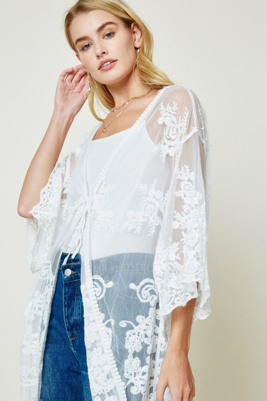 Delicate Off White Lace Duster