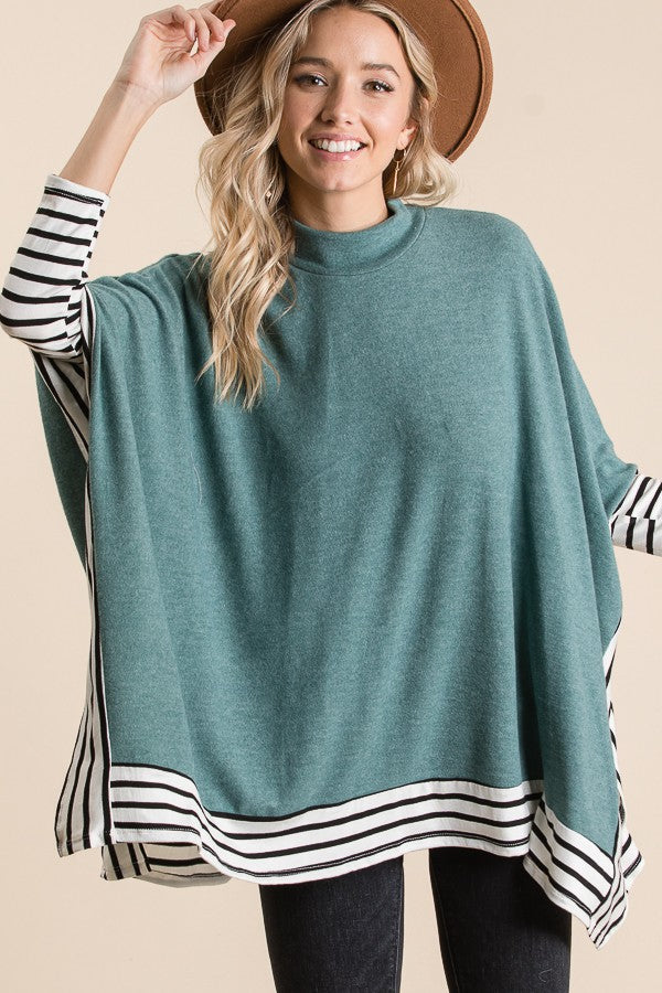 Teal Stripe Cape Poncho Top