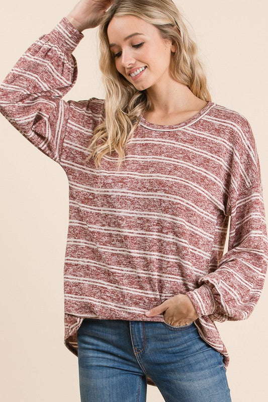Wine Stripe Puff Sleeve Top