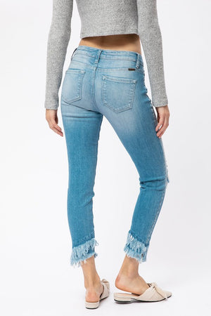 KanCan- Mid Rise Skinny Jeans with Fringe Bottoms
