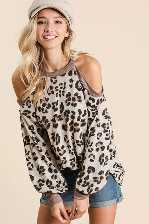 Leopard Cold Shoulder Top