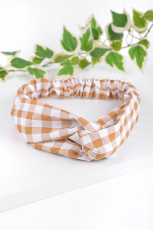 Gold Lg. Gingham Knotted Elastic Headband