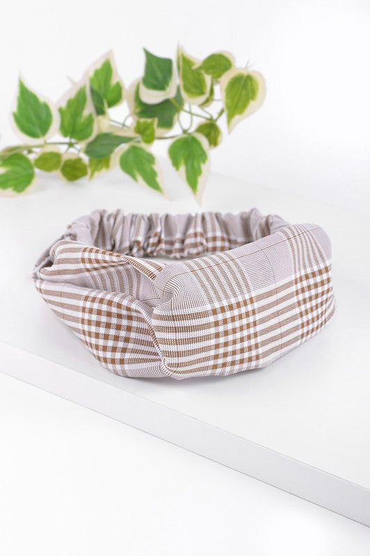 Mocha Plaid Knotted Elastic Headband