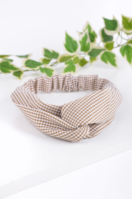 Taupe Gingham Knotted Elastic Headband