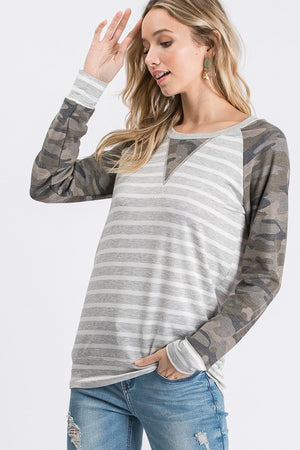 Billie- Camo and Stripe Top