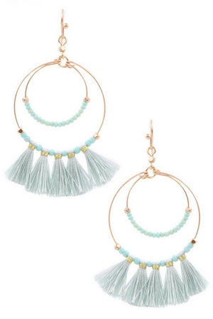 Seed Bead Tassle Hoop Drop Earrings- Mint