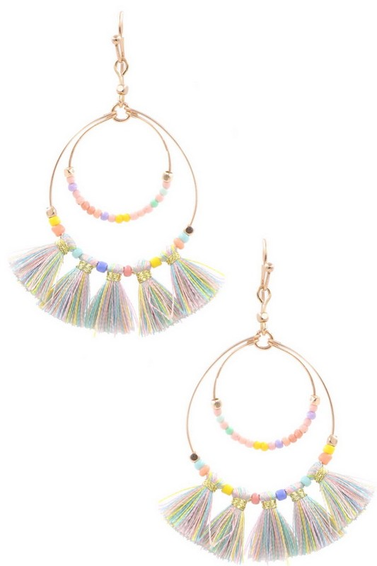 Seed Bead Tassle Hoop Drop Earrings- Multi